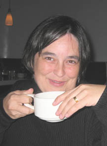 Laura Quilter, drinking tea